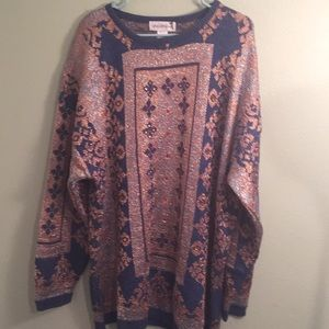 Vintage 3X Saks 5th Ave gold/silver/beaded sweater